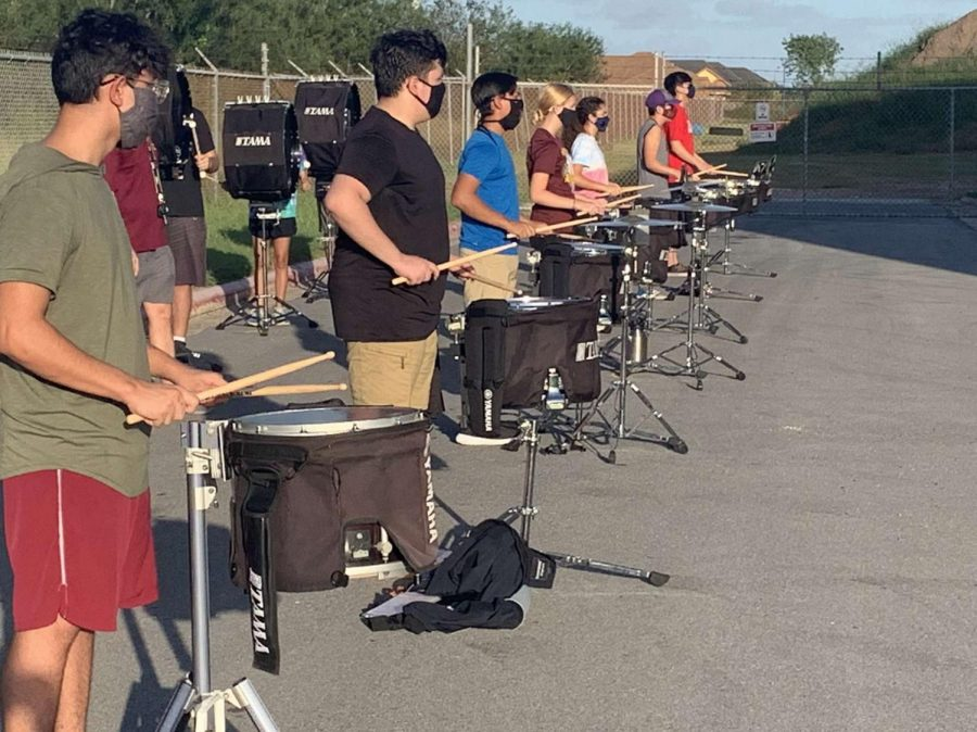 Percussionists practicing